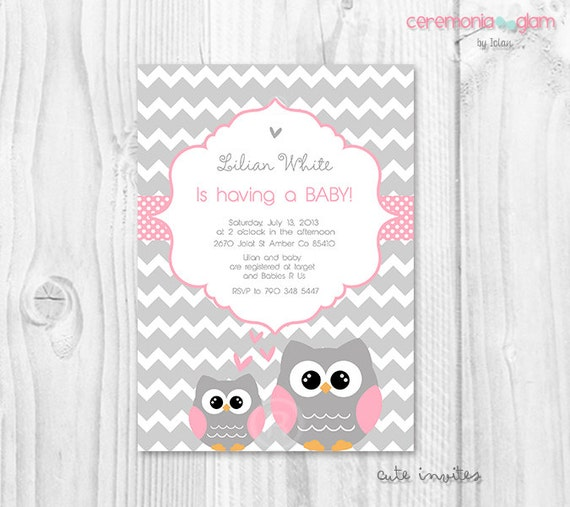 Pink owl baby shower invitation baby girl owl pink and grey chevron