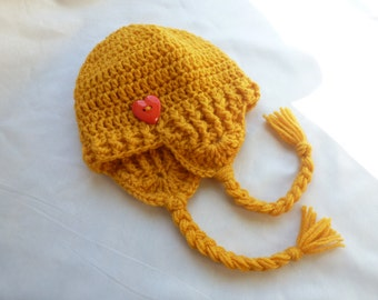 12m - 3T Toddler Girls Crochet Hat with Ear Flaps Yellow, 12 months,18 months,24 months,2t,3t