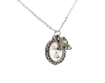 SKATING is Life Silver Figure Skating CHARM NECKLACE