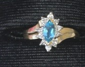Ring -  Aquamarine and Diamonds - 10K Gold
