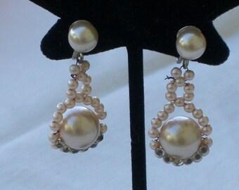 Earrings - Faux Pearls - Rhinestones - Pink - Vintage