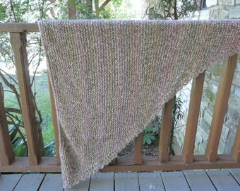 Rose, Beige and Taupe Acrylic Hand-Knitted Triangle Shawl