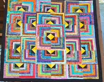 """64 Inch Square Bright Batik Contemporary Quilted Wall Hanging or Lap Quilt-""""No Match.com"""""""