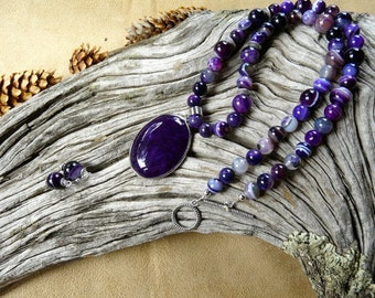 21 Inch Lovely Purple Striped Agate Necklace with Pendant and Earrings