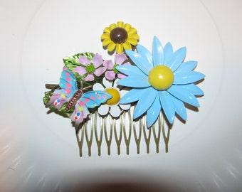 Vintage Flower Garden Ooak Recycled Costume Jewelry Victorian Hair Comb