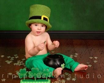 Children's St. Patrick's Day Leprechaun Green Crochet Top Hat