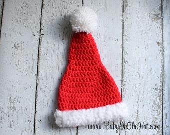 Newborn Children's Santa Christmas Holiday Red and White Plush Crochet Hat 0-12 Months
