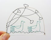 Swimming birds / ducks under flowers - Wire drawing - Wall hanging / mobile