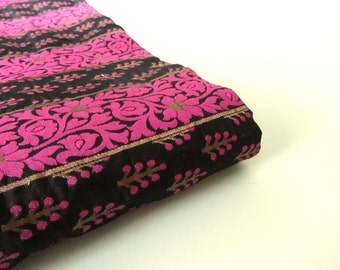 Black gold pink flowers and branches India silk brocade fabric nr 155 fat quarter