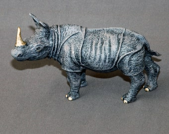 """Bronze Rhino Sculpture """"Rhinoceros Small"""" Rhino Figurine Statue Art / Limited Edition / Signed & Numbered / INCREDIBLE DETAILED"""