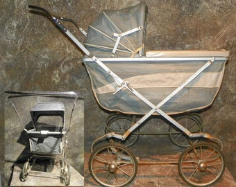 Doll Buggy By Welsh Blue Deluxe Model Folds for Storage 1940's