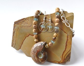 Faceted Aquamarines and Ammonite Necklace with Aquamarine Earrings