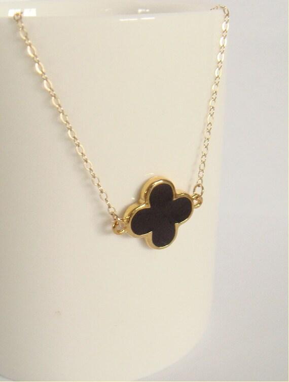 14k gold filled and black clover necklace clover necklace