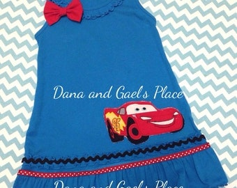 McQueen from cars  ruffle girl dress