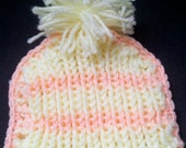 Baby Girl Hat Sweet Love Newborn Bonnet Infant Pastel Yellow Peach Pom Pom 0-3 month Knitted Crochet  Gift Ready to ship