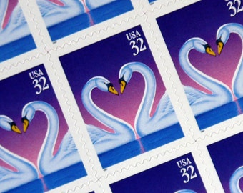 20 pieces - Vintage unused 1997 32 cent SWAN LOVE - purple - postage stamps - great for valentines, weddings, scrapbooking, crafts, etc