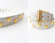 Escada Belt Mint Leather Gold Studded Kawaii 90s Grunge 90s Soft Grunge Prepster Waist Belt Xs/S Small Skinny Belt Retro Kawaii Escada Belt