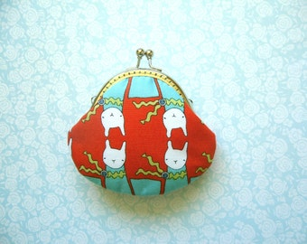 Handmade coin purse - Ric Rac Rabbits in Red / Aqua with kiss clasp frame