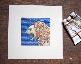 Tigris Euphrates actual boardgame original lion tile artwork - blue and gold - unique gift for board game fan