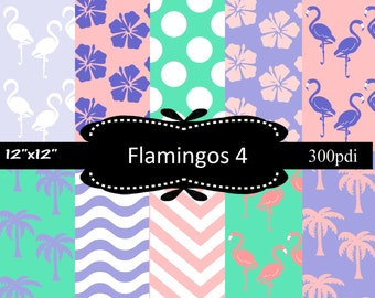 50% off Sale, Flamingos 3 Purple & Pink, Digital papers, scrapbooking papers with dots, chevron, flamingos, hibiscus, palm trees, waves