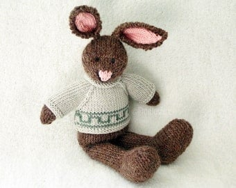 Knitted Rabbit - Knitted Toy - Stuffed Animal Knitted Bunny - Hand Knit Toy - Kids Easter Bunny - Hand Knitted Animal Free Shipping STEPHEN