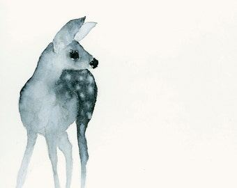 Deer Fawn Art Fine Art Print from Original Watercolor