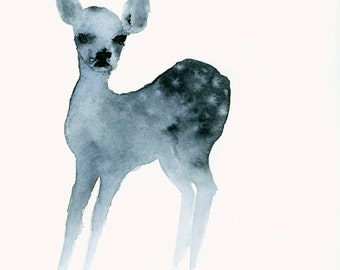 Fine Art Print from Original Watercolor Painting Ghost Fawn
