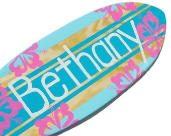 Girls Surf Decor, Personalized Surfboard Wall Art, Baby Surfer Decor, Turquoise Beach Signs, Teen Girls Room Decor, Tween Decor, Bethany