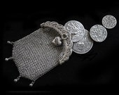 Antique Solid Silver Art Nouveau Chain Mail Purse-Gorgeous-Finely Made-Pendant Sized