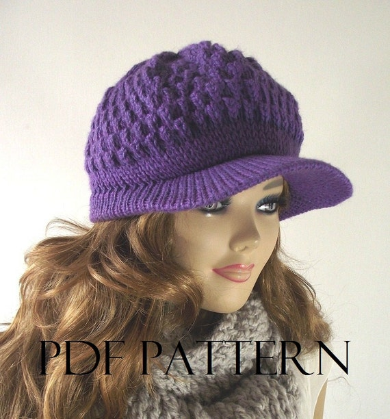 KNITTING HAT PATTERN Newsboy Hat Knitted Hat Pattern