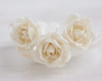 71_Ivory rose pins, Flower pins, Hair clips flower, Flower hair clip, Flower barrette, Wedding hair accessories, Hair accessories roses.