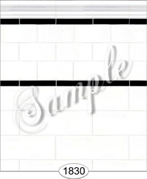 """Dollhouse Miniature Wallpaper, """"Chic Subway Tile for the Bath"""", Scale One Inch"""