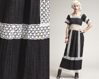 Vintage GUAZE LACE SHEER Crocher 60s Black and White Maxi Dress // Bell Sleeves // Empire // Pin tucked // Mexican