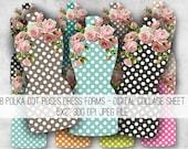Digital Collage Sheet Download - Polka Dot Roses Dress Form Mannequins -  977  - Digital Paper - Instant Download Printables