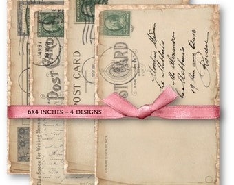 Digital Collage Sheet Download - Handwritten Vintage Postcards -  955  - Digital Paper - Instant Download Printables