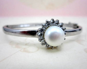 CLEARANCE SALE Rare 10k victorian white gold large pearl and white stone bracelet bangle - authentic antique bangle from the 1800's