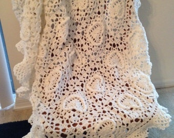 Sale White Baby Afghan christening with Hearts