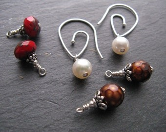 INTERCHANGEABLE Sterling Silver Earrings - faceted freshwater brown pearls, freshwater white pearls, red Czech glass beads with picasso