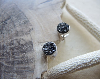 SALE, Black Druzy Studs, Druzy Stud Earrings, Sterling Silver Bezel Earrings 6mm, Druzy Earrings, Druzy Jewelry Gift For Her, Silver Studs
