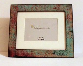 8x10 5x7 Turquoise Red Oxidized Photo Frame