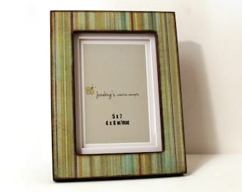 5x7 Photo Frame Green Blue Brown Stripes