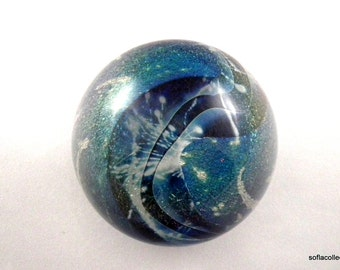 Robert Eickholt 1988 Dichroic Glass with Iridescent Blue and Green Magnum Planet Type Paperweight - Vintage Studio Art Glass