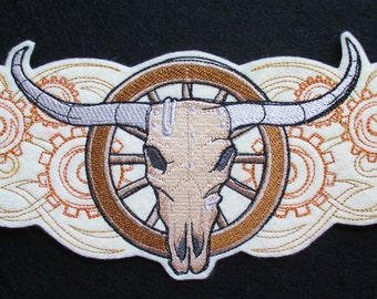 Extra Large Embroidered Steam Punk Western Steer Skull Applique Patch, Skull and Wagon Wheel, Western, Steampunk, Wild Wild West, Sub Genre