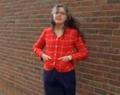 Red Pendleton Wool Blazer