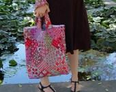 Boho Bag, Bohemian Purse, Medium Tote Bag, Red Vintage Fabric Tote, Boho Purse, Bohemian Bag, Boho Fashion by greenbugmarketplace