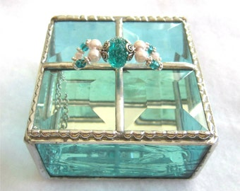 Stained Glass Jewelry Box, Trinket Box, Gift Box, Christmas Box,  Mothers Day