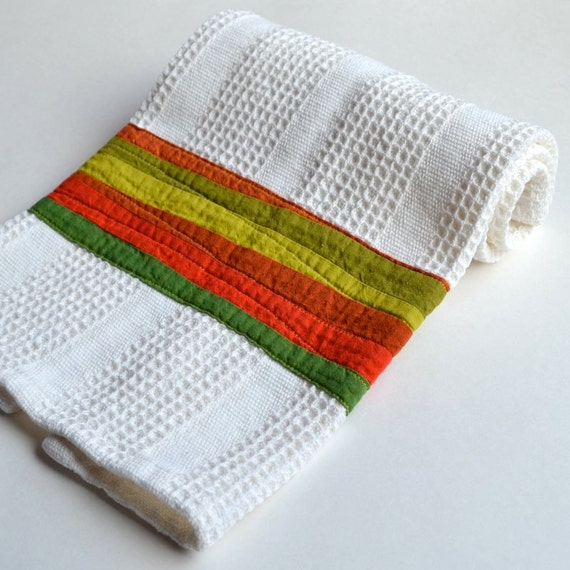 Modern Kitchen Towel, Green Dish Towel, Waffle Weave Towel, Green Orange