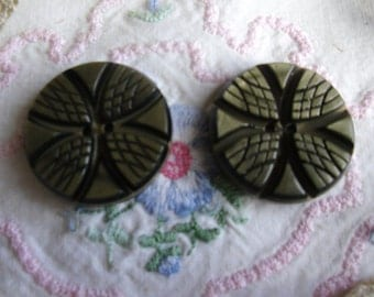 Vintage Buttons - 2 Pressed Celluloid Carved Laminated Wafer Buttons - Two Holes