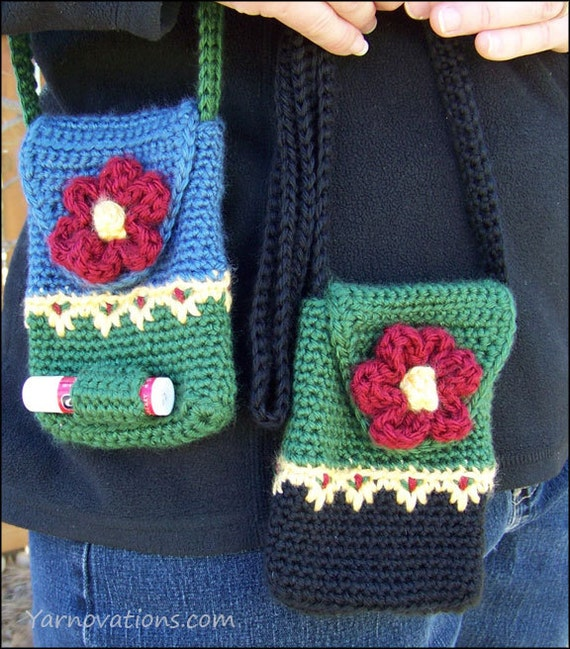 Mini Purse with Flower Button CROCHET PATTERN by YarnovationsShop