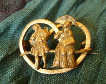 Vintage french Courting Couple Brass and bronze Brooch with Pretzel Shape Back